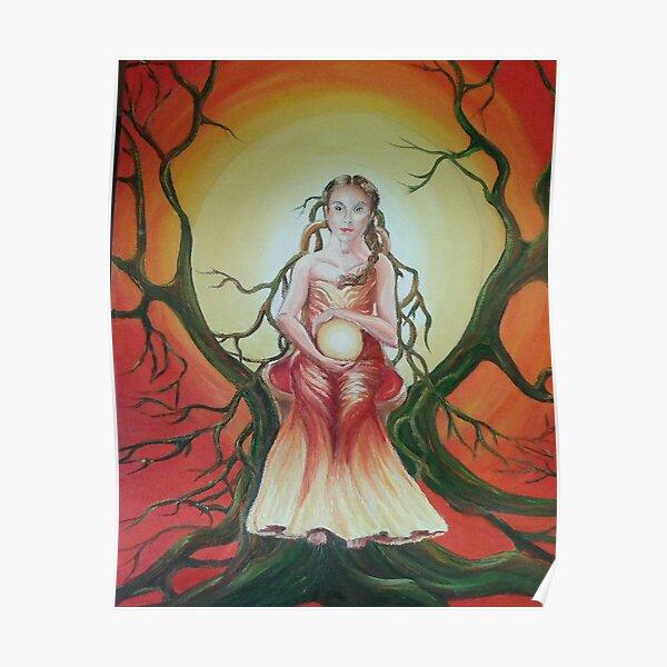 Spiritual woman with crystal ball Poster