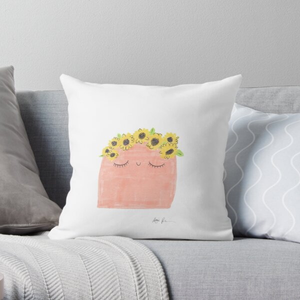 Sunflower Crown Blob Throw Pillow