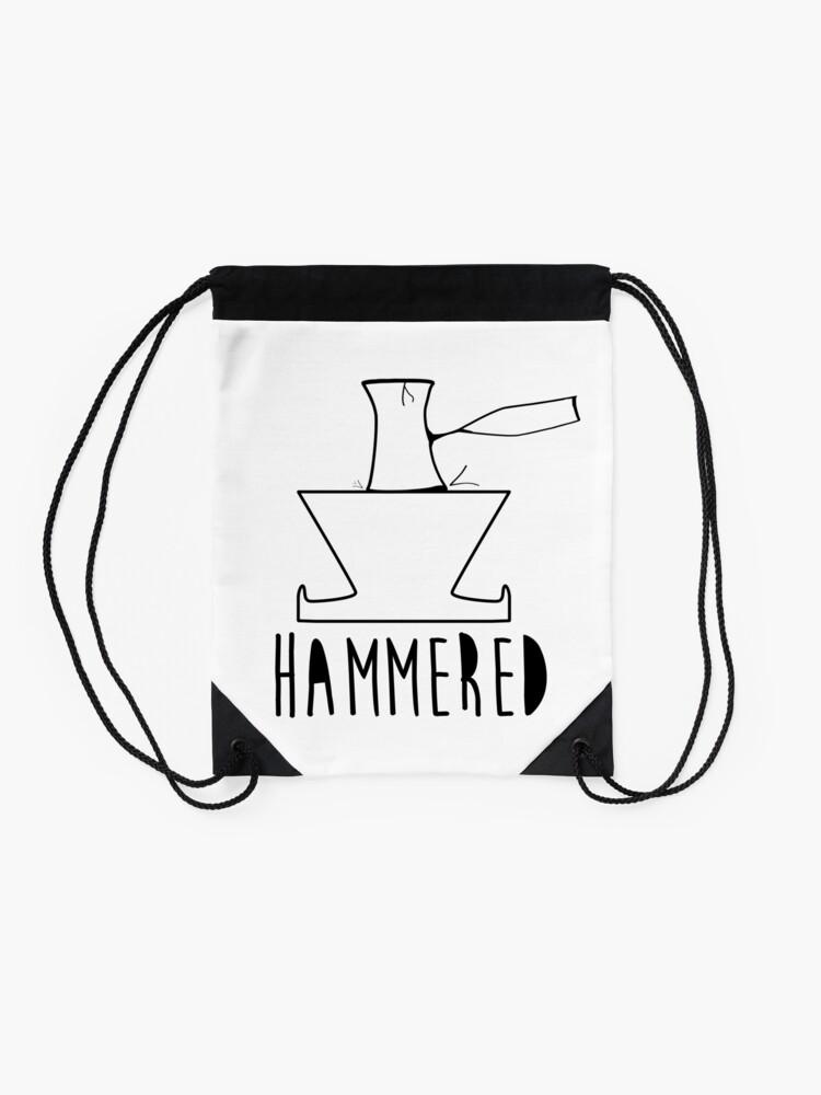 e0c4222e Alternate view of 'HAMMERED' Simple but cool Grunge Rock Design Drawstring  Bag. '