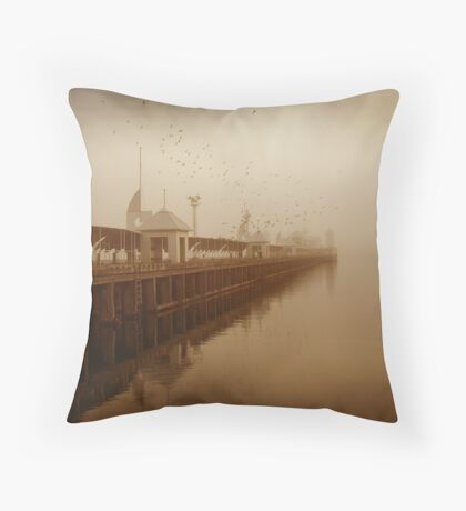 the birds and the pier Throw Pillow
