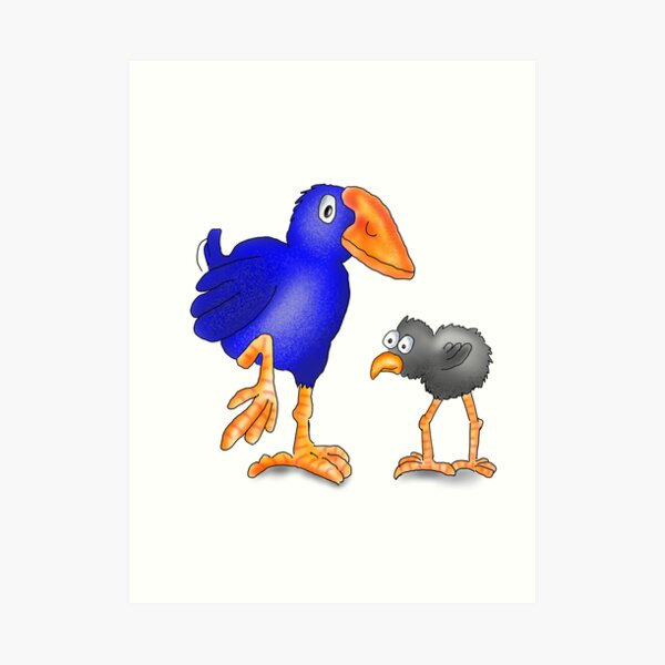 Pukeko Bird and Chick. New Zealand Native Birds Art Print