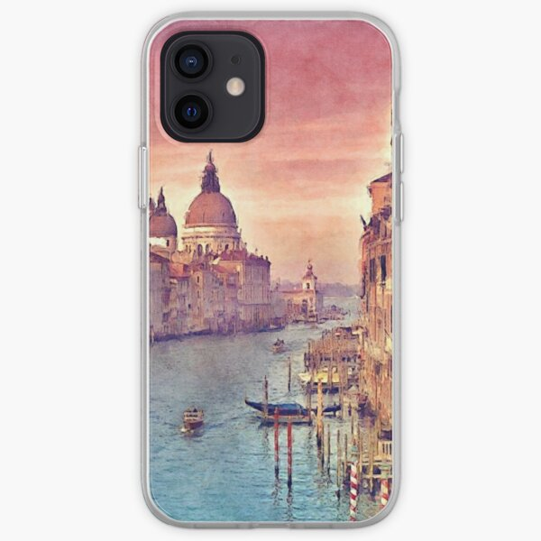 Chic Vintage Italy Venice Canal Pastel Watercolor iPhone Soft Case