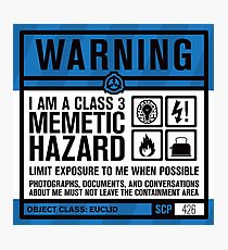 SCP 426 Warning Sign Photographic Print