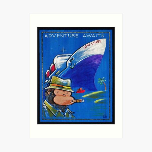 Adventure Awaits Steamship Ape Art Print