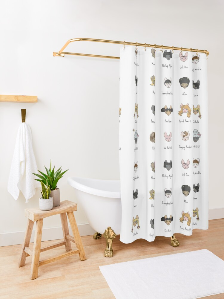 Alternate view of Let's Doo This [Trendy Hair Styles for Sphinx Cats] Shower Curtain
