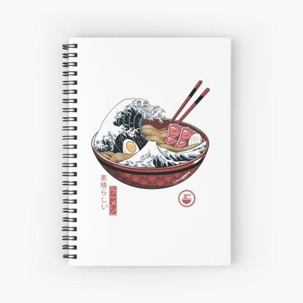 Great Ramen Wave White Spiral Notebook