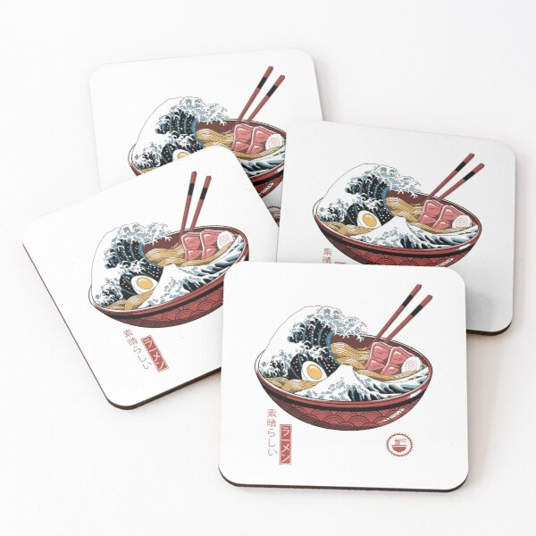 Great Ramen Wave White Coasters (Set of 4)