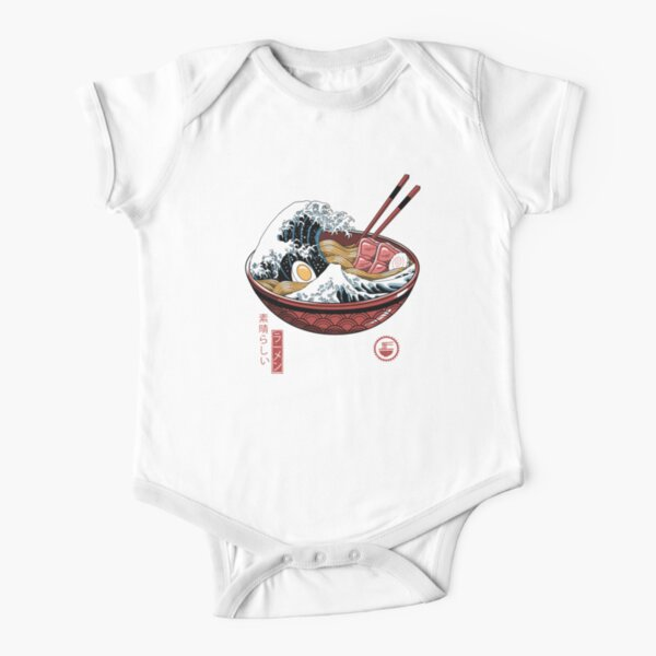 Great Ramen Wave White Short Sleeve Baby One-Piece