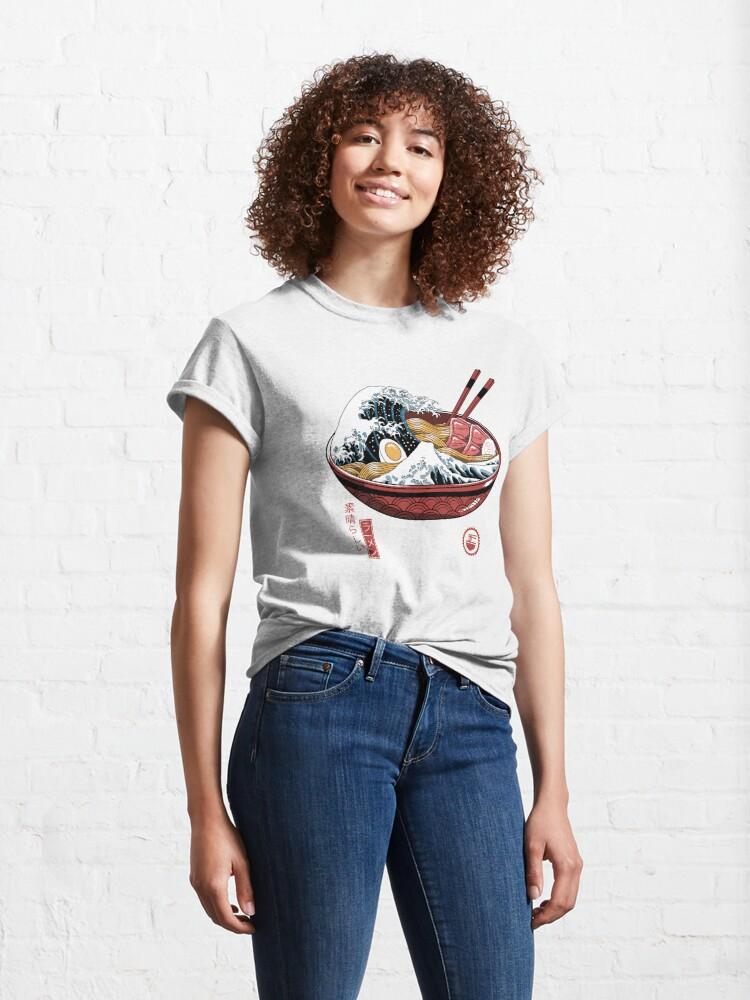 Alternate view of Great Ramen Wave White Classic T-Shirt