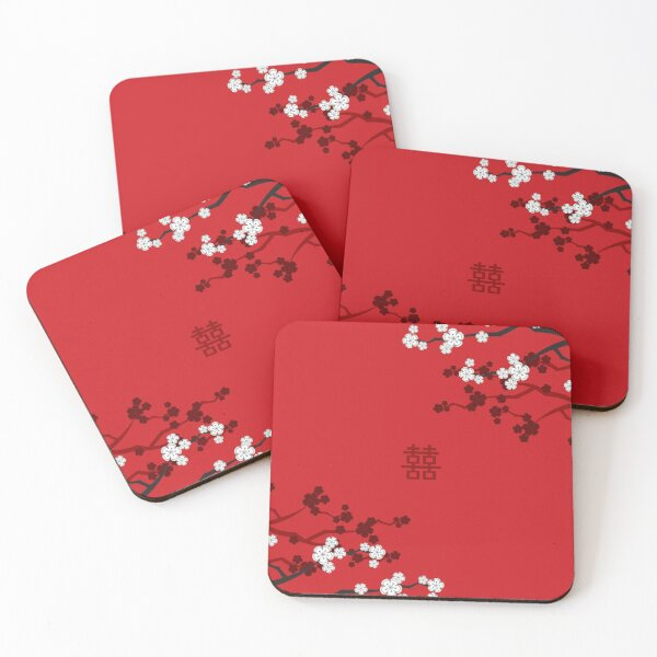 White Oriental Cherry Blossoms on Red and Chinese Wedding Double Happiness | Japanese Sakura © fatfatin  Coasters (Set of 4)