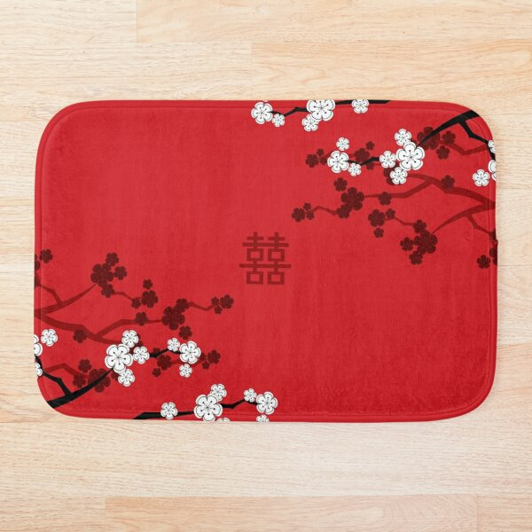White Oriental Cherry Blossoms on Red and Chinese Wedding Double Happiness | Japanese Sakura © fatfatin  Bath Mat