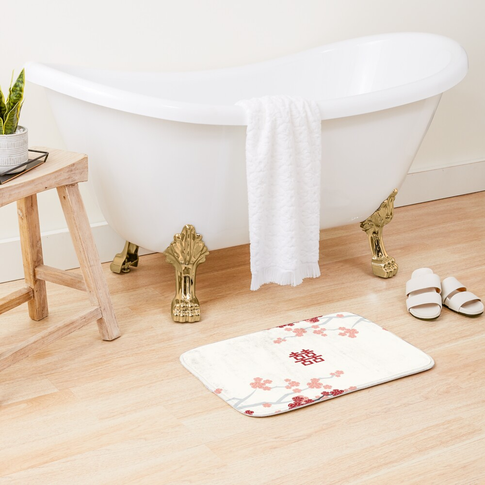 Red Oriental Cherry Blossoms on Ivory and Chinese Wedding Double Happiness | Japanese Sakura  Bath Mat