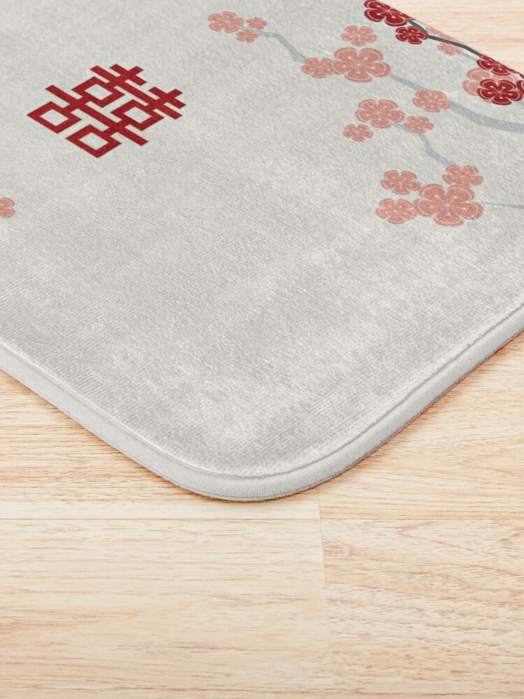 Alternate view of Red Oriental Cherry Blossoms on Ivory and Chinese Wedding Double Happiness | Japanese Sakura  Bath Mat