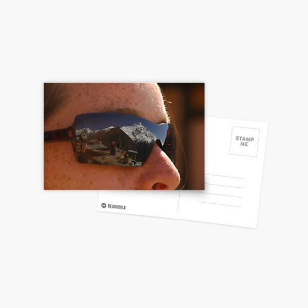 Annapurna II reflected in sunglasses Postcard