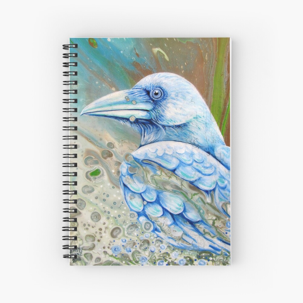 White Sprit Raven Spiral Notebook