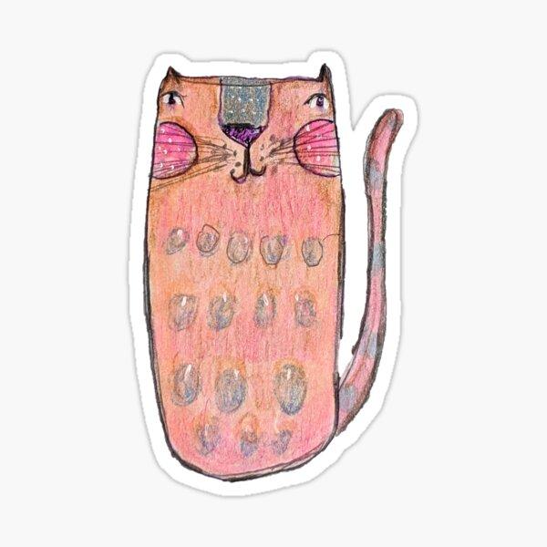 Sketchy Pink Cat Sticker