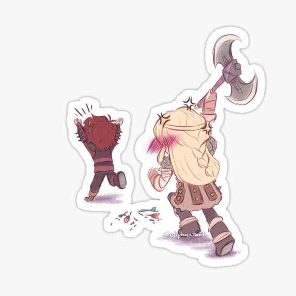 Astrid chasing Hiccup Sticker