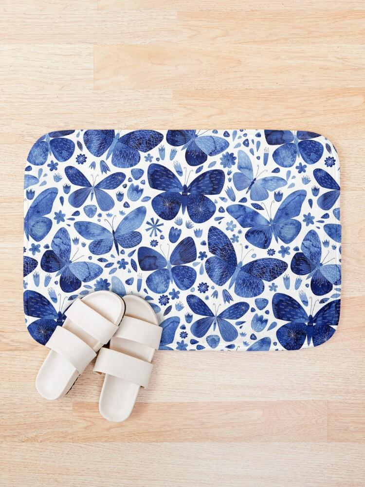 Alternate view of Blue Butterflies Bath Mat