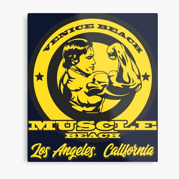 Arnold Schwarzenegger Muscle Beach Metal Print