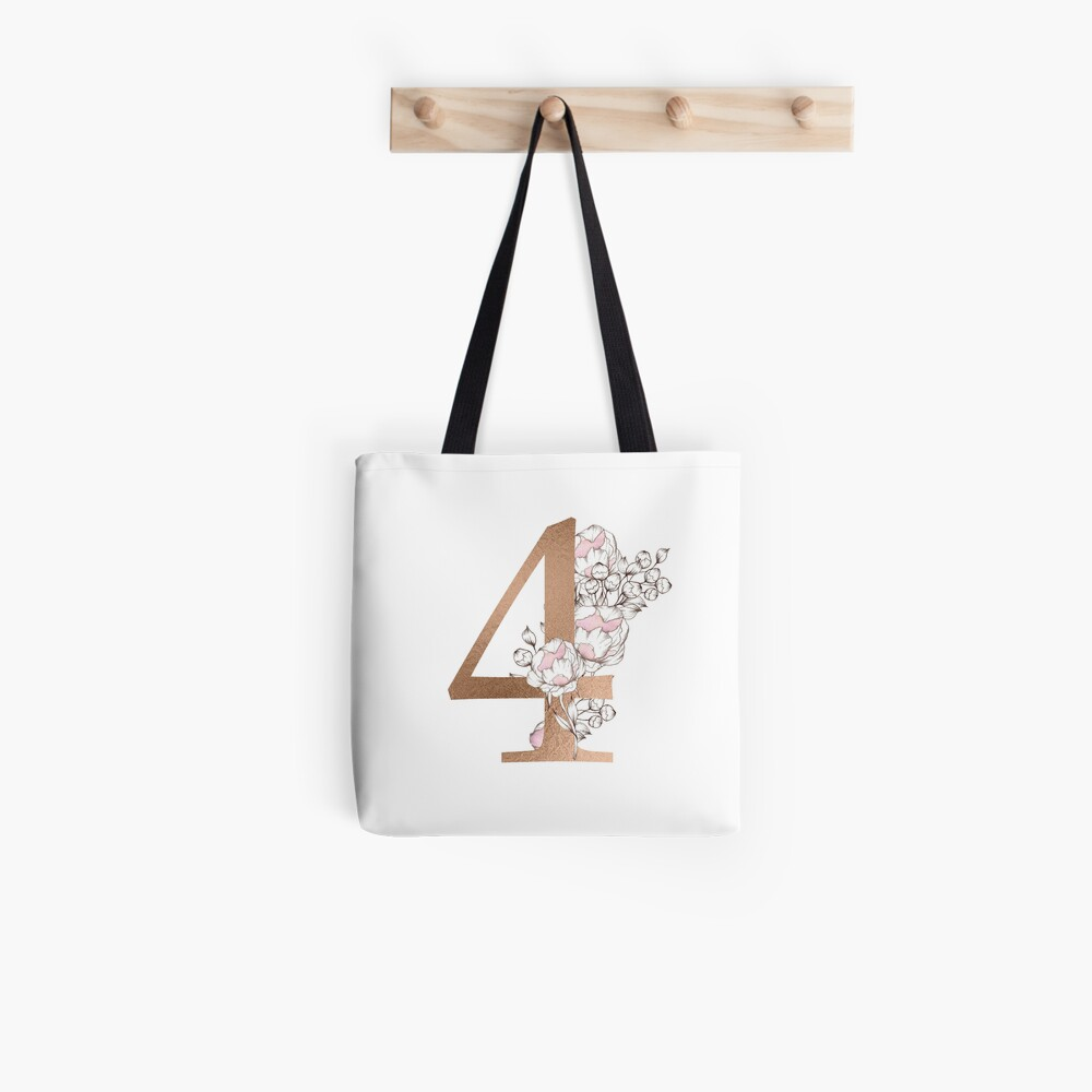 Number 4 - Peonies Floral uppercase Gold Alphabet Watercolor  Tote Bag