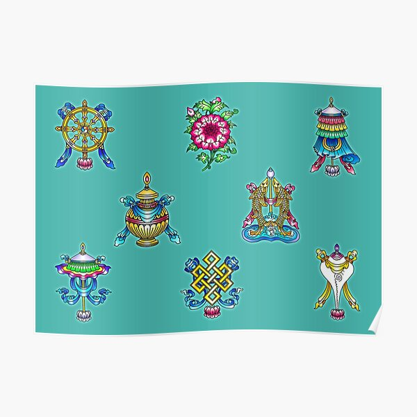 8 Auspicious Buddhist Symbols (Ashtamangala) Poster