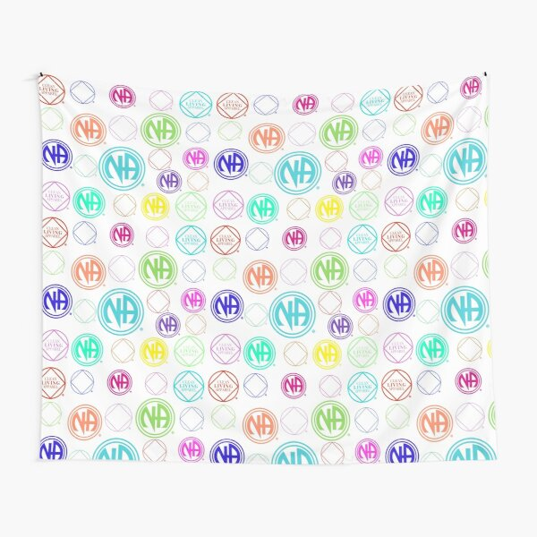 Colorful NA Symbols and Logos Narcotics Anonymous Gift  Tapestry