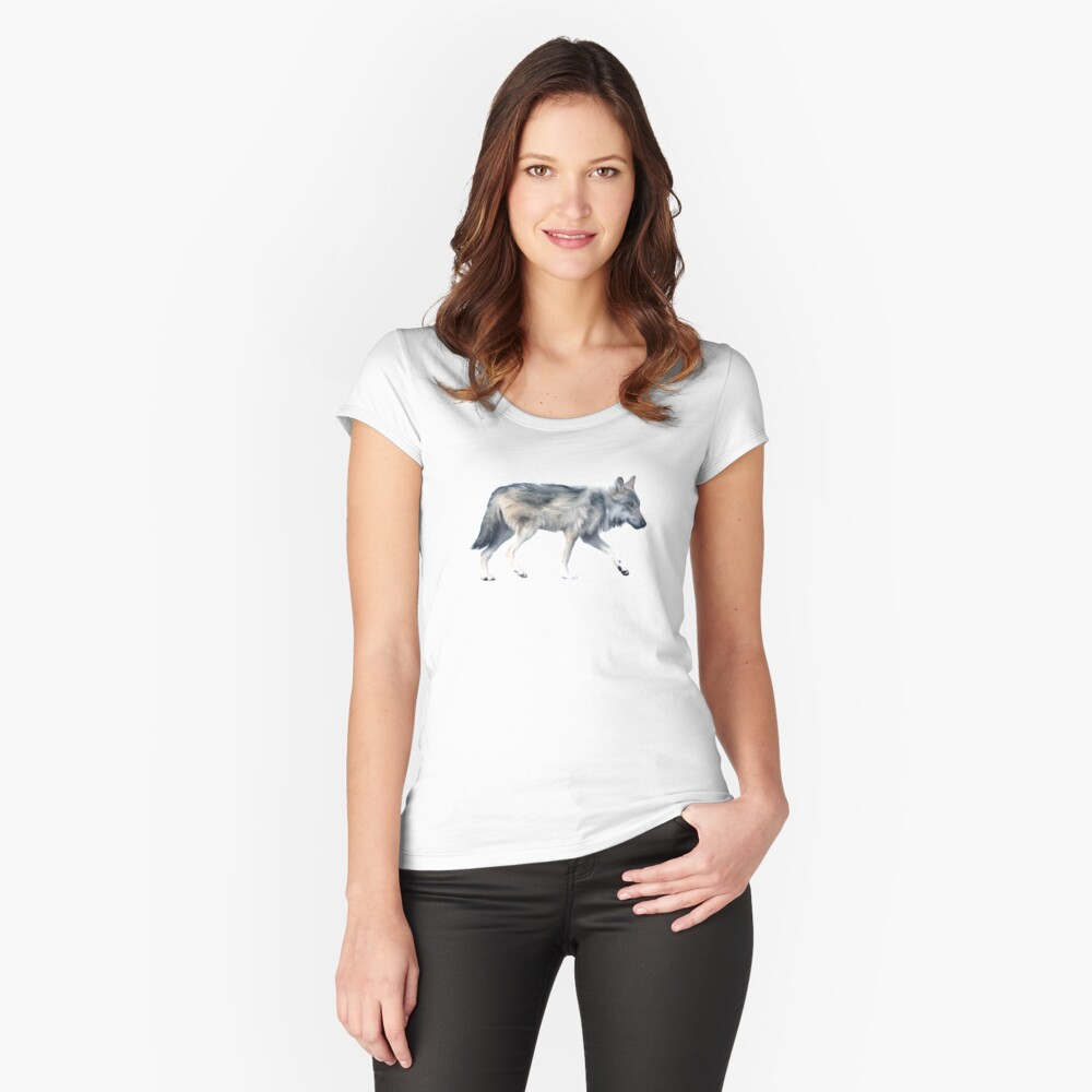 Wolf on Blush Fitted Scoop T-Shirt