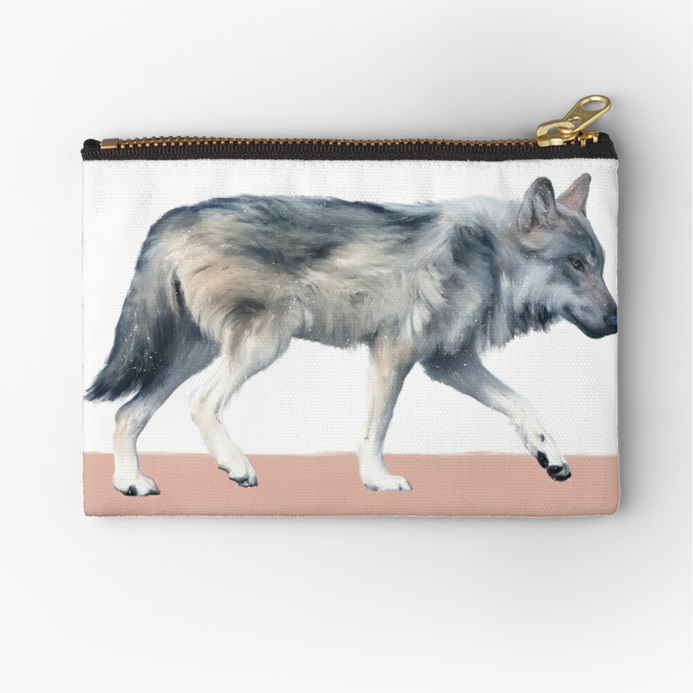 Wolf on Blush Zipper Pouch