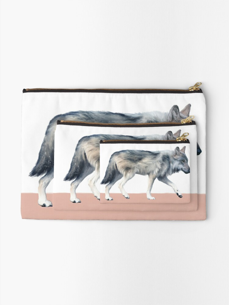 Alternate view of Wolf on Blush Zipper Pouch