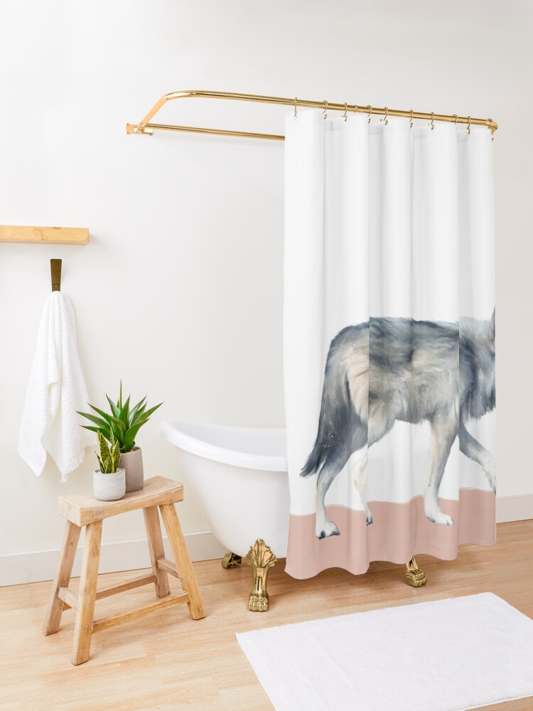 Alternate view of Wolf on Blush Shower Curtain