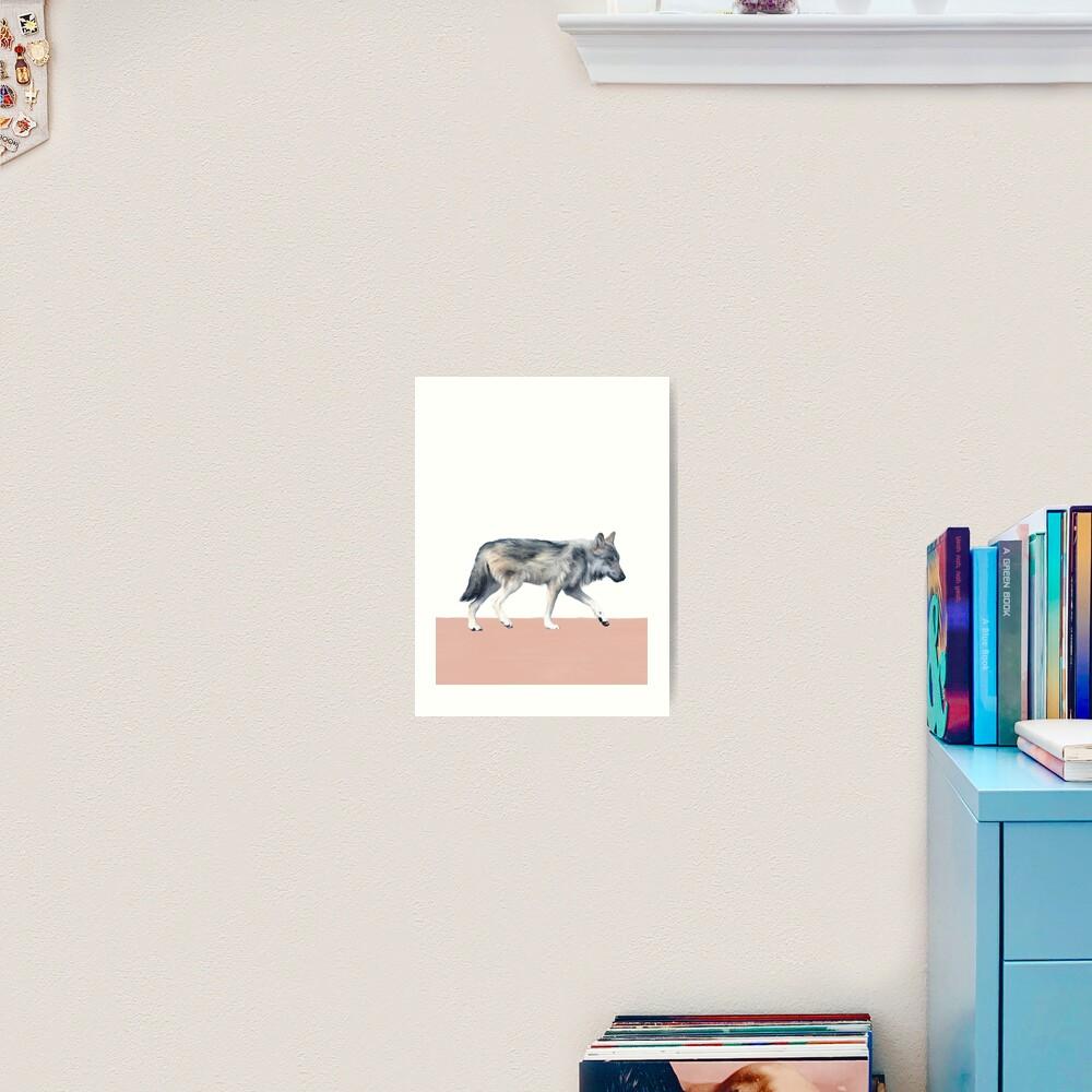 Wolf on Blush Art Print