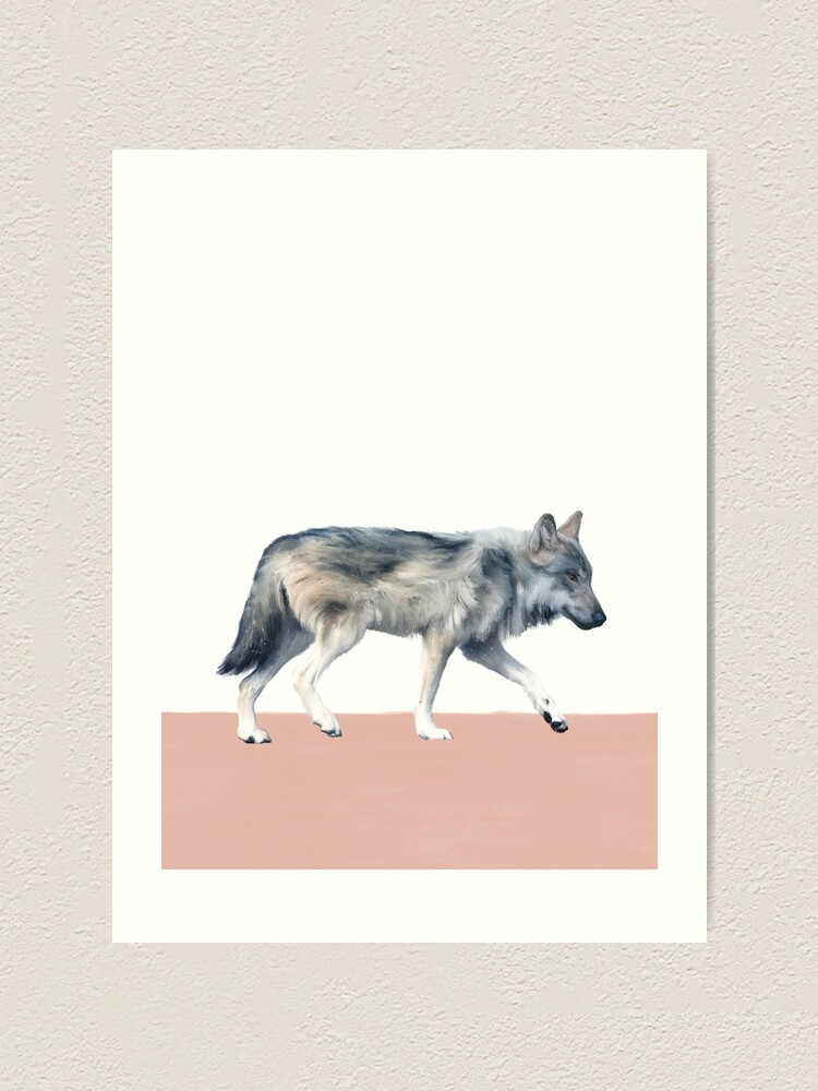 Alternate view of Wolf on Blush Art Print