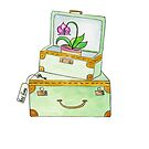 Watercolor Vintage Luggage With New Home Key and Orchid by daphsam