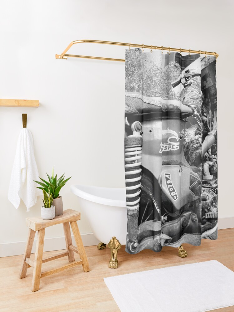 Alternate view of Dominican Republic Moped Shower Curtain