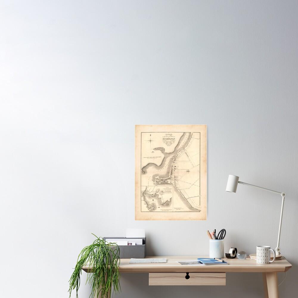 Stornoway Old Map | Antique Scottish Town Map, Scottish Hebrides Gift Map Poster