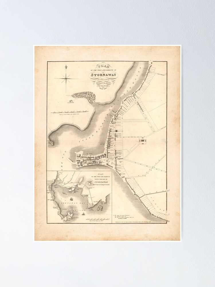 Alternate view of Stornoway Old Map | Antique Scottish Town Map, Scottish Hebrides Gift Map Poster