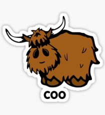 Heilan' Coo - with text Glossy Sticker