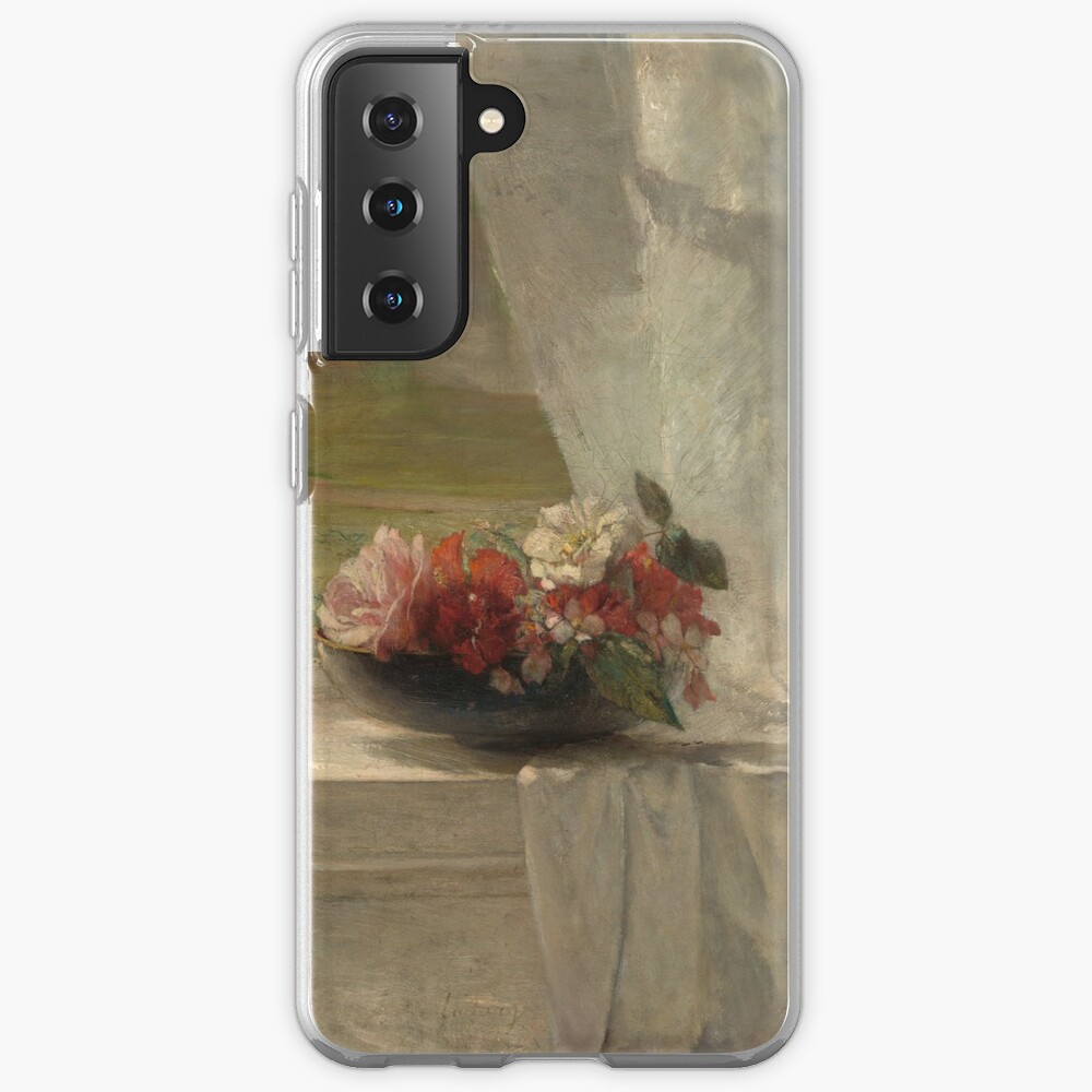 Flowers on a Window Ledge Oil Painting by John La Farge Case & Skin for Samsung Galaxy