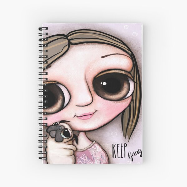 Little child big eyes and the pug Spiral Notebook