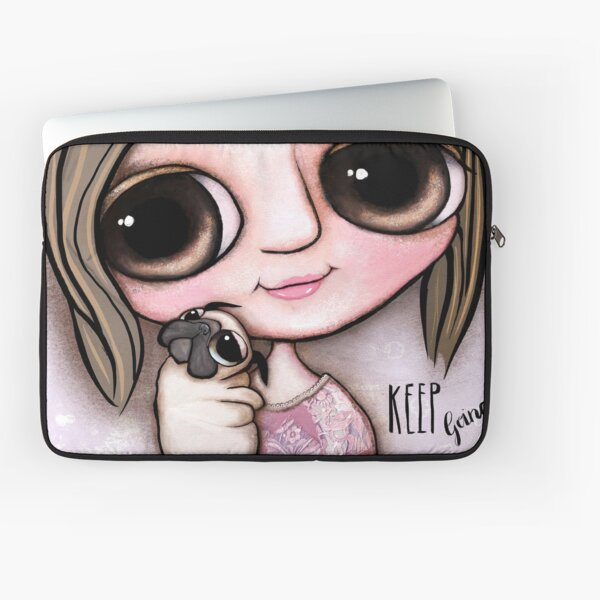 Little child big eyes and the pug Laptop Sleeve