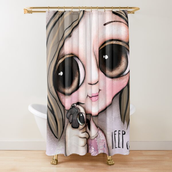 Little child big eyes and the pug Shower Curtain
