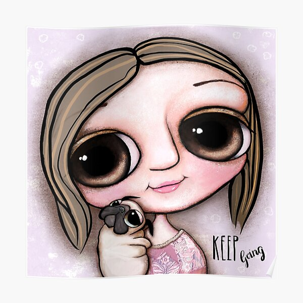 Little child big eyes and the pug Poster