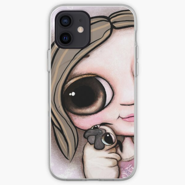 Little child big eyes and the pug iPhone Soft Case