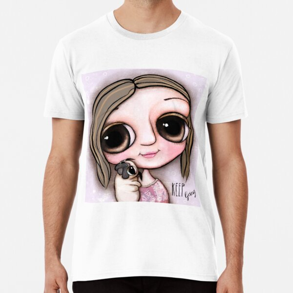 Little child big eyes and the pug Premium T-Shirt