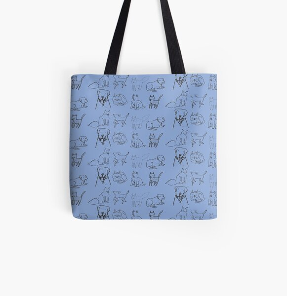 Cats and dogs hanging out All Over Print Tote Bag