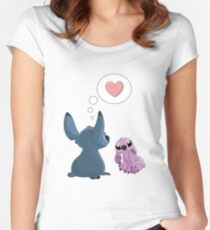 Stitch Inspired Friendship. Women's Fitted Scoop T-Shirt