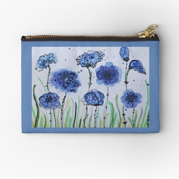 Blue flowers 2 Zipper Pouch