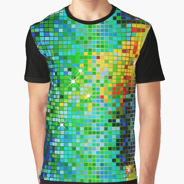 Image of a Metallic Green Tones Sequins Look-Disco Ball Pattern  Graphic T-Shirt