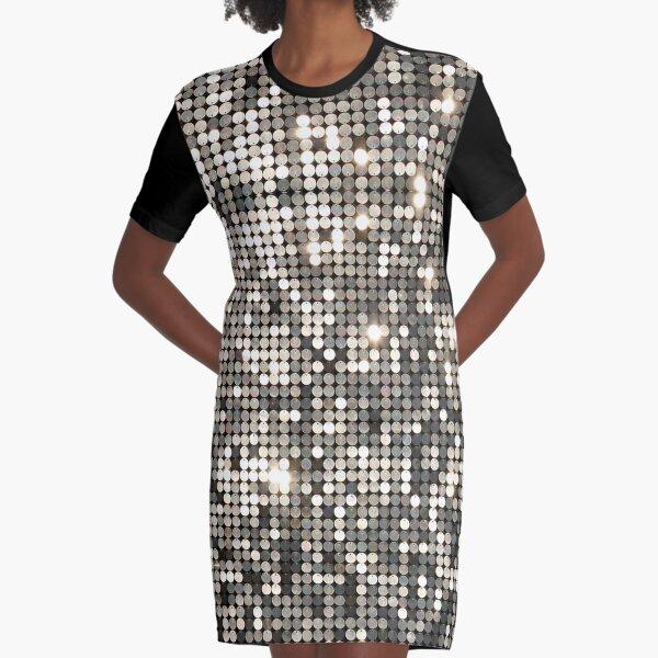 Silver Gray Disco Glitter & Sparkles Graphic T-Shirt Dress
