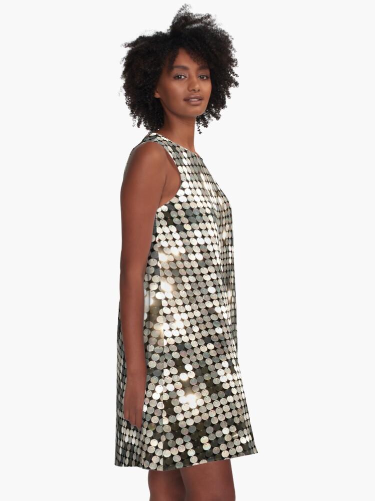 Alternate view of Silver Gray Disco Glitter & Sparkles A-Line Dress